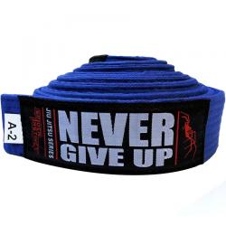 """SPIDER INSTINCT Ceinture JJB """"Never Give Up"""" Bleu"""