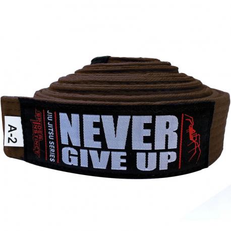 """SPIDER INSTINCT BJJ Belt """"Never Give Up"""" Brown"""